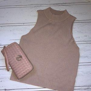 Sleeveless Ribbed High Neck Crop Top Sweater